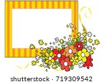 flowers with card border   Shutterstock .eps vector #719309542