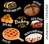 bakery shop vector icons. baked ... | Shutterstock .eps vector #719313565