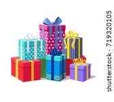 gift boxes with ribbon set... | Shutterstock .eps vector #719320105