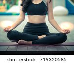 the acting setup of yoga...   Shutterstock . vector #719320585
