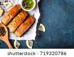 delicious fried salmon fillet ...   Shutterstock . vector #719320786