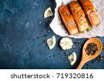 delicious fried salmon fillet... | Shutterstock . vector #719320816