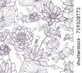 lotus floral seamless pattern.... | Shutterstock .eps vector #719328772