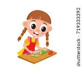 little girl in apron cooking ... | Shutterstock .eps vector #719333392