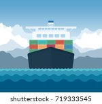 cargo shipping transporting... | Shutterstock .eps vector #719333545