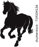 black silhouette of horse. | Shutterstock .eps vector #719334136