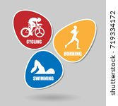pack of triathlon sports in... | Shutterstock .eps vector #719334172