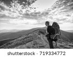 hiking man  climber or trail... | Shutterstock . vector #719334772