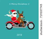 merry christmas  santa claus... | Shutterstock .eps vector #719337745