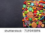 various colorful candies ... | Shutterstock . vector #719345896