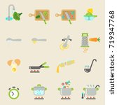 cooking  instruction flat icon... | Shutterstock .eps vector #719347768