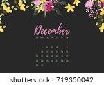 vintage floral calendar 2018... | Shutterstock .eps vector #719350042