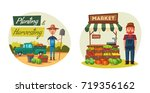 farm set with farmers and... | Shutterstock .eps vector #719356162