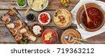 traditional italian vegetarian... | Shutterstock . vector #719363212