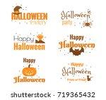 set of happy halloween ...   Shutterstock .eps vector #719365432