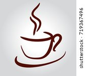 coffee cup brown on white...   Shutterstock .eps vector #719367496