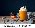 pumpkin latte with spices.... | Shutterstock . vector #719367982