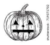 halloween pumpkin with evil... | Shutterstock .eps vector #719371702