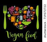 vector illustration of vegan... | Shutterstock .eps vector #719372722