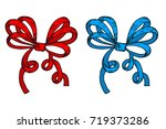 red and blue ribbon bows. hand... | Shutterstock .eps vector #719373286