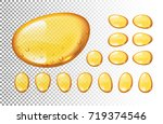 set of vector honey drops on