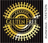 gluten free gold shiny emblem | Shutterstock .eps vector #719375296