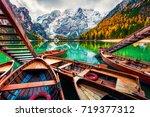 pleasure boats on braies... | Shutterstock . vector #719377312