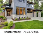 luxurious new home with curb... | Shutterstock . vector #719379556