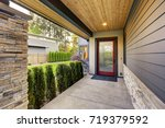 luxurious new home with long... | Shutterstock . vector #719379592