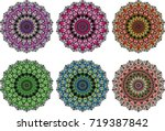 6 circle  colorful mandala.... | Shutterstock .eps vector #719387842