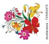 vector bouquet of  garden... | Shutterstock .eps vector #719392375