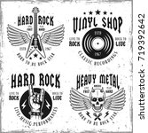 set of four rock music vector... | Shutterstock .eps vector #719392642