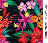 vector tropical leaves and... | Shutterstock .eps vector #719393002