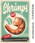 shrimps promotional poster... | Shutterstock .eps vector #719395348