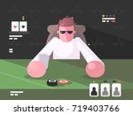 player in cards with poker face.... | Shutterstock .eps vector #719403766