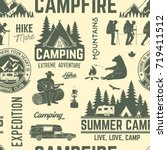 summer camp seamless pattern or ... | Shutterstock .eps vector #719411512