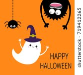 happy halloween card. flying... | Shutterstock . vector #719412265