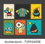 set of six retro postage s... | Shutterstock .eps vector #719416438