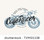 cafe racer vintage motorcycle... | Shutterstock .eps vector #719431138