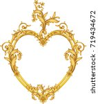 classic gold frame with heart... | Shutterstock .eps vector #719434672