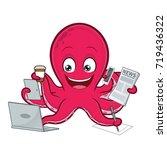 octopus multitasking | Shutterstock .eps vector #719436322