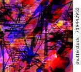 seamless pattern. red  blue ... | Shutterstock .eps vector #719442952
