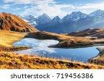 koruldi mountain lake. upper... | Shutterstock . vector #719456386