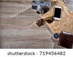 old retro analog photo camera... | Shutterstock . vector #719456482