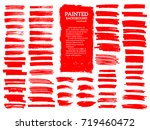 painted grunge stripes set. red ... | Shutterstock .eps vector #719460472