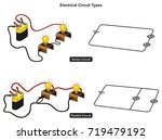 electrical circuit types...   Shutterstock . vector #719479192