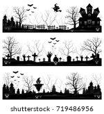 three halloween banners | Shutterstock . vector #719486956