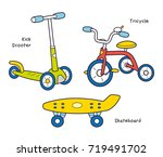 red kids tricycle  kick scooter ... | Shutterstock .eps vector #719491702