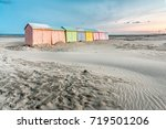 multicolored bathing cabins... | Shutterstock . vector #719501206