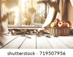 autumn background of desk and... | Shutterstock . vector #719507956